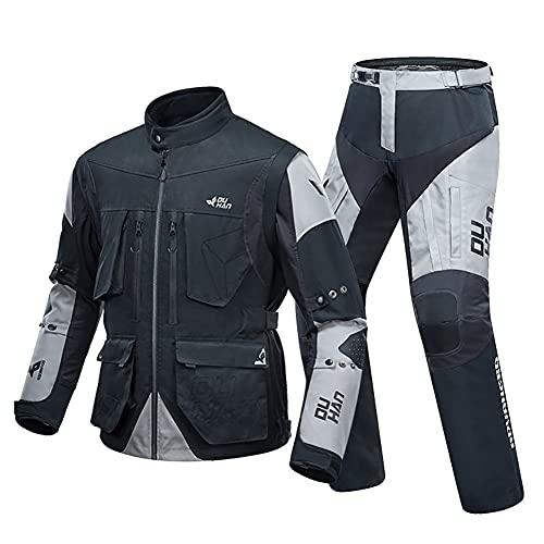 LITI Chaqueta de motocicleta para hombre CE Armour Cordura Textile 2 piezas 100% impermeable + pantalón