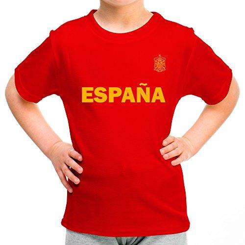 LolaPix Camiseta España Personalizada con tu Nombre y Dorsal | Selección Española | Varios Diseños Tallas | 100% Algodón | Niño | Roja