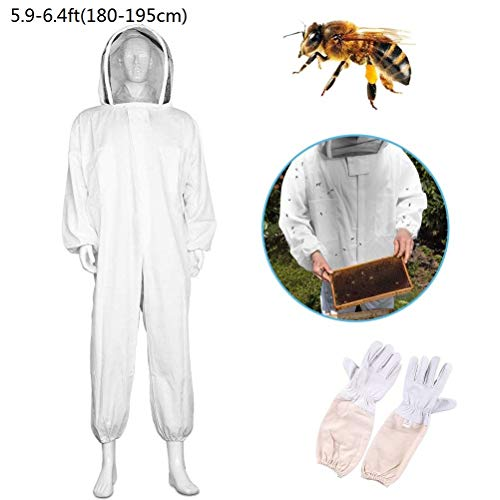 Odowalker Beekeeping Suit Cotton Full Body Bee Keeping Suit Bee Jacket Smock with Veil Hood and A Pair Beekeeping Long Sleeve Gloves (XXL)