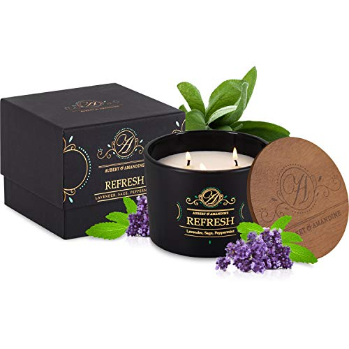 Refresh - Lavender Sage Peppermint Luxury Scented Soy 3 Wick Candle for Stress Relief & Relaxation High Intensity Aromatherapy (Lavender Sage Peppermint)