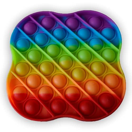 IMAGO 1x Push Pop Pop Bubble Pop IT Push in Regenbogen Farbe zur Ablenkung bei Stress & Nervosität für Kinder und Erwachsene Fidget (Viereck / Kleeblatt)