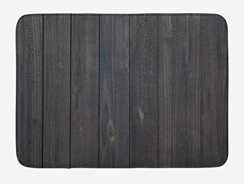 AdaCrazy Dunkelgraue Badezimmermatte Holzzaun Textur Bild raue rustikale verwitterte Oberfläche Holz Eichenholzplatte Plüsch Badezimmerpolster Rutschfester Rückseite Flanell Badematte 40x60cm