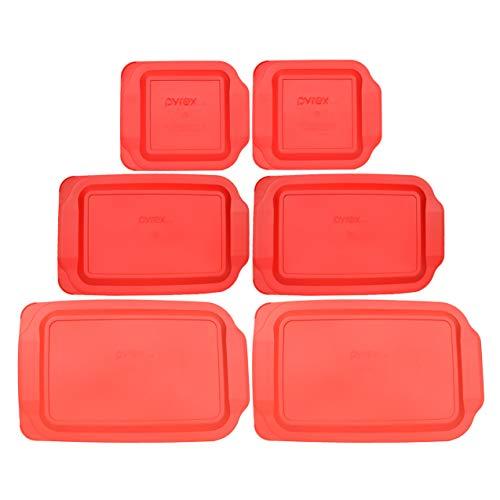 Pyrex (2) 234-PC 4qt (2) 233-PC 3qt & (2) 222-PC 2qt Red Plastic Replacement Baking Dish Lids