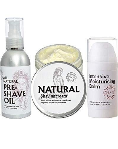 Executive Shaving Naturel Rasage Crème, Eau Soluble Pré-rasage Huile et Intensif Hydratant Baume Ensemble