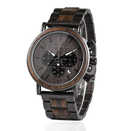BOBO BIRD Relojes de pulsera para hombre de madera de ébano con estilo y cronógrafo combinado de acero inoxidable con caja de madera (gris)