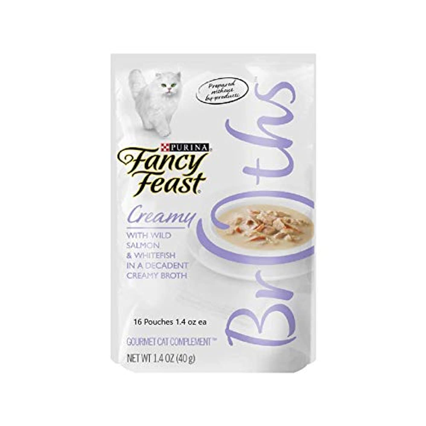 16 Pouches of Fancy Feast Creamy Broths with Wild Salmon & Whitefish Cat Treats/Dry Food Topper Not Meant to Replace Meals. 1.4-oz ea