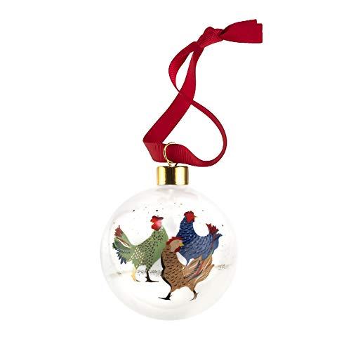 Portmeirion Home & Gifts - Pallina di Natale con tre galline francesi, in ceramica, multicolore