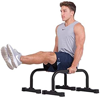 Body Power PL1000 New Push up Stand Parallettes 12x24 inch Non-Slip with Integrated Knurling Grip - Supports Strength HIIT Yoga ROM Gymnastics Conditioning Exercise Workouts