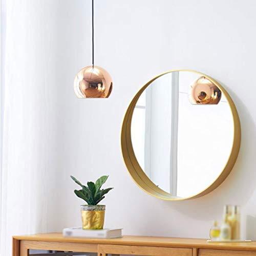 Badkamer Wandspiegel, Badkamer Spiegel, Badkamer Spiegel Wandspiegel Scheerspiegel met Plank Ronde Spiegel Houten Hangende Spiegel Messing Kleur Grote Decoratieve Spiegel