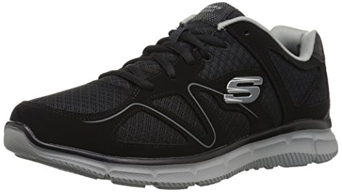 Skechers Flash Point Memory Foam Mens Lace Up Shoes Trainers Black/Grey 10 US