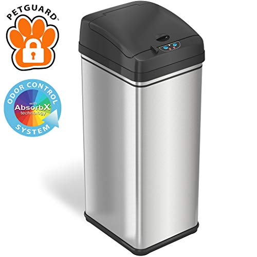 Why Choose iTouchless 13 Gallon Pet-Proof Sensor Trash Can with AbsorbX Odor Filter Kitchen Garbage ...