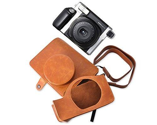 ds. distinctive style Custodia per fotocamera compatible avec Fujifilm Instax Wide 300 macchina fotografica istantanea retrò PU Custodia in pelle con cinturino gratis - Brown