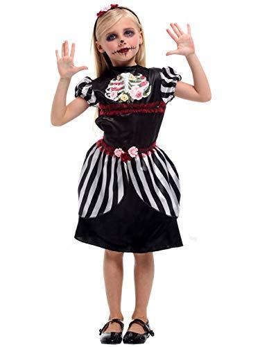 YONIER Ninas Disfraz de Esqueleto Zombie Disfraz para El Da de los Muertos Catrina Disfraz de Novia Muerta Vestido de Fiesta Manga de Soplo Halloween
