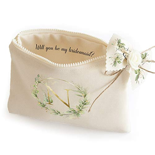 Custom Bridesmaid proposal gift ideas - Bridesmaid cosmetic bags Monogram makeup pouches Asking bridesmaids to be in wedding party (Letter N)