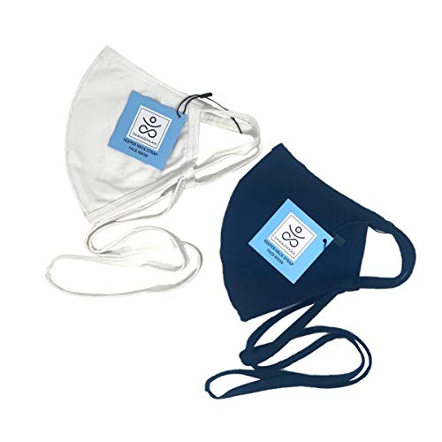 Samadhaan 100% Cotton Fully Adjustable Face Mask   Unisex   Breathable & Washable Nose & Mouth Mask   with Filter Pocket - 2 Pack