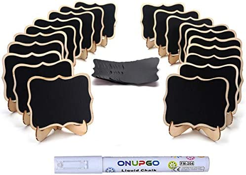 ONUPGO 20 Pack Mini Chalkboards Signs with 1 Liquid Chalk Marker Small Wooden Chalkboard Labels product image