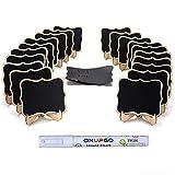 ONUPGO 20 mini enseignes pour tableau noir, petites étiquettes en bois avec chevalets de support, marque-places, panneaux alimentaires, tableaux noirs, décoration, numéros de table, mariages, fête