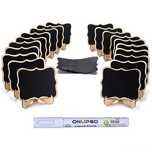 ONUPGO 20 Stück Mini Tafeln Schilder, Klein Holz Kreidetafel mit Ständer- als Tischkarten Platzkarte Namensschild Preisschilder für Hochzeit, Birthday Parties Dekorationen