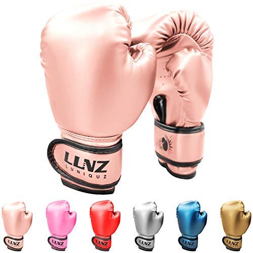 Luniquz Boxing Gloves for Kids Punching Bag Sparring Fit Boys Girls, 4 OZ Pink