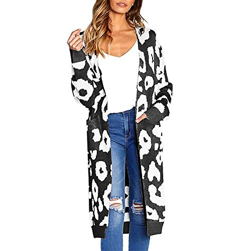Women's Hoodies, FORUU Fashion Knitted Print Long Sleeve Cardigan T-Shirt Tops Sweater Coat Open Front Outerwear Autumn Maxi Sweater Coat Breathable Spring Casual Sexy Fashion Trendy Black
