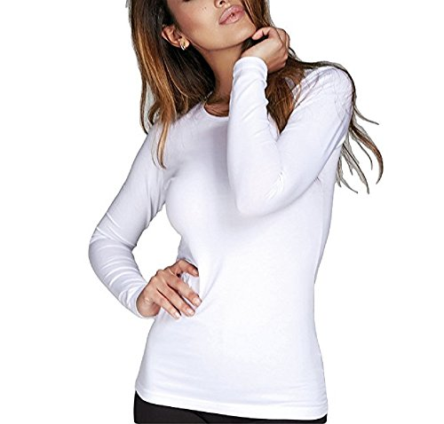 Maglia girocollo donna Jadea sottogiacca manica lunga art 4055 nero maglietta (S-M)