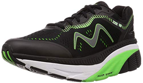 MBT Men's Zee 18 Black/Green Rocker Bottom Running Shoe with Maximum Cushion Size 12