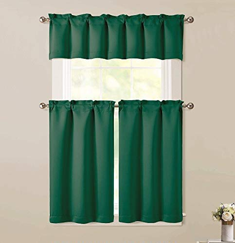 """Sapphire Home 3pc Kitchen Curtain 2 Tier (36""""L) + 1 Valance (15""""L) Semi-Blackout, Woven Fabric Soft Touch, Room Darkening Solid Short Panels,Curtains for Small Window,Tier Panels,(BT181, Hunter Green)"""