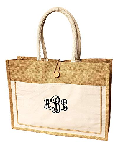 Vintage Style Jute with Cotton Pocket Reusable Large Tote Grocery Shopping Bag - Custom Personalization Available (Natural - Embroidered Monogram)