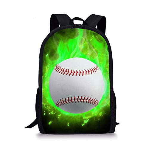 Boys Backpack Baseball Green Combustion Print School Bag Children Teens Travel Outdoor Bookbags 17 Inch