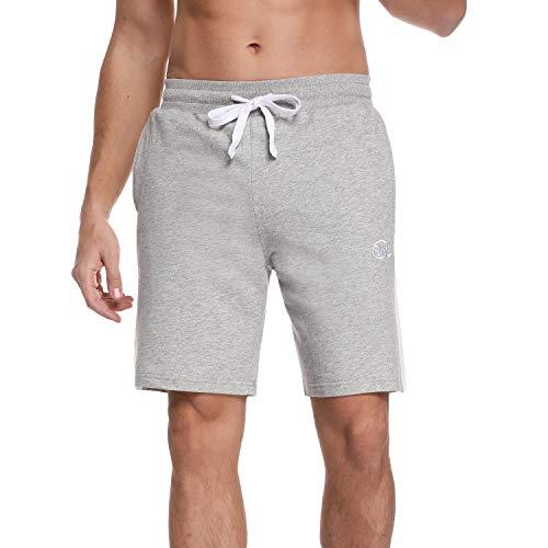 Sykooria Shorts Deportivos para Hombre 100% Algodón Ligero Transpirable Corto con Rayas Blancas Pantalones de Pijama Pantalones Cortos de Secado Rápido para Baloncesto Jogging, Gimnasio y Compras