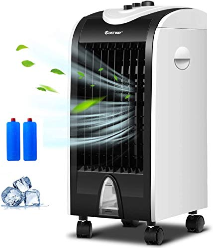 COSTWAY Evaporative Cooler, 3-in-1 Portable Air Cooling, Fan, and Humidifier with 3 Speeds, Bladeless Air Cooler 2 Ice Box for Indoor, Home, Office, Dorm