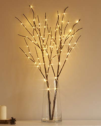 Hairui Lighted Artificial Brown Twig Tree Branch with Fairy Light 32IN 100 LED Battery Operated Lighted Willow Branch for Christmas Easter Wedding Decoration Indoor Outdoor Use (Vase Excluded)