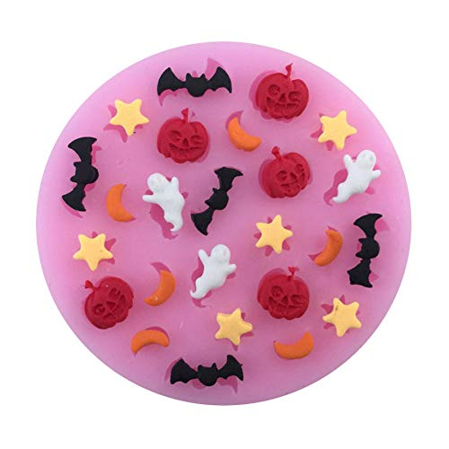ZPZZPY Halloween Cartoons mit Monden Sterne Kürbisse Geister Fledermäuse Silikon Fondant Kuchenformen Schokoladenform zum Backen in der Küche