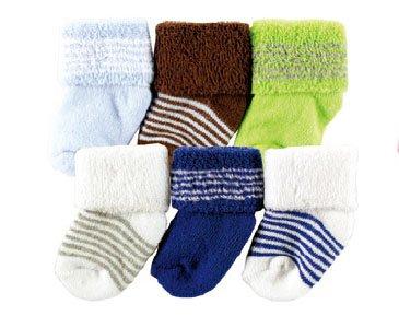 Luvable Friends 20615SB Baby Socken 6er Set uni & gestreift Größe: 0-3 Monate