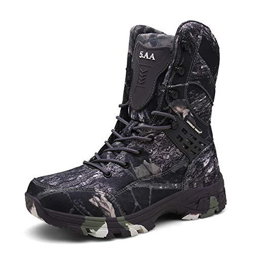 Botas Militares tácticas Impermeables de Camuflaje para Hombres Zapatos de Senderismo de Combate de Media Pantorrilla al Aire Libre Botas de Trekking Antideslizantes