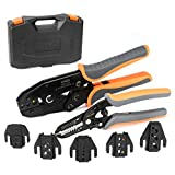 IWISS Ratcheting Crimping Tool Set 8 PCS - Quick Exchange Jaw for Heat Shrink, Non-Insulated, Open Barrel, Insulated and Non-Insulated Ferrules AWG 20-2