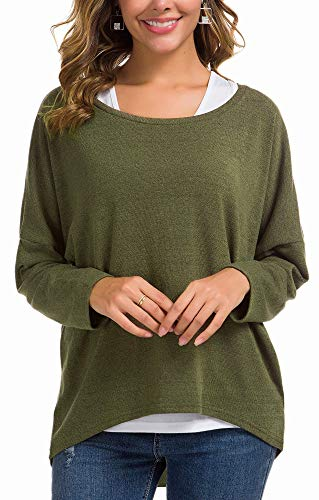 UGET Women's Oversized Baggy Tops Loose Fitting Pullover Casual Blouse T-Shirt Sweater Batwing Sleeve Medium Army Green