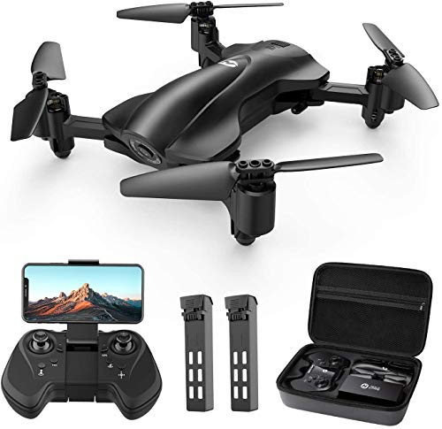 Holy Stone HS165 GPS Drone with 2K HD Camera for Adults, Foldable Drone for Beginners, FPV RC Quadcopter with Auto Return Home, Follow Me, Circle Fly, Tap Fly, Includes 2 Batteries and Carrying Case