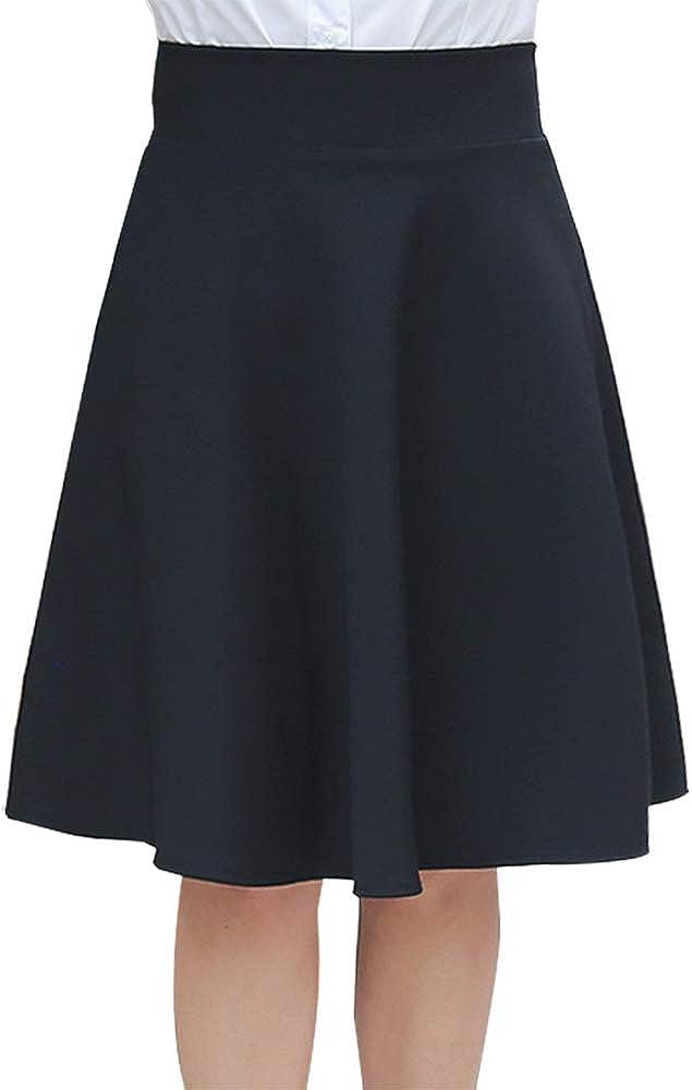 Ylingjun Women's Stretchy High Waistband A line Midi Skirt