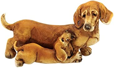 Top Collection Enchanted Story Fairy Garden Dachshund and Puppy Outdoor Statue