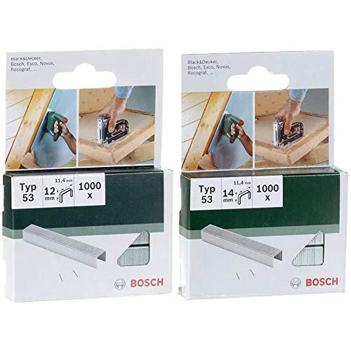Bosch 2609255822 Graffette tipo 53, 11,4 x 0,74 x 12 mm, confezione da 1.000 & 2609255823 Fine Graffetta a Filo, Tipo 53, 11.4 x 0.74 x 14 mm
