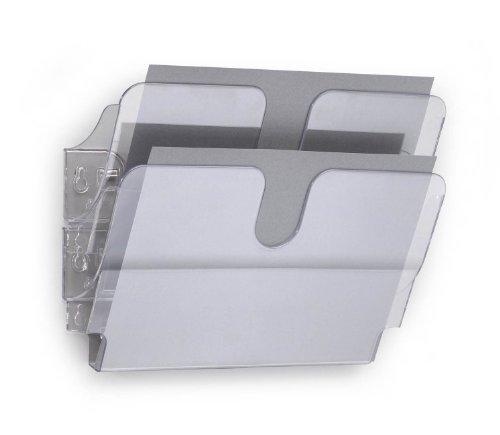 Durable 1709014400 Fle x iplus 2 A4 Orizzontale, Espositore da Parete, per Documenti Formato A4 Orizzontale, 2 Comparti, 340 x 250 x 100 mm, Trasparente