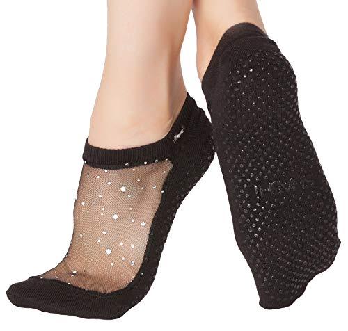 Shashi Black Glitter Mesh Non Slip Ergonomic Socks Pilates Barre Ballet Yoga Black Medium / 8-10