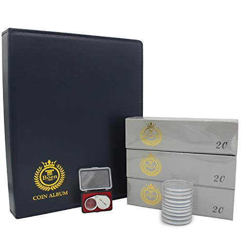 Boen Coin Collection Supplies Featured Coin Album and Includes 5 Pages Loose-Leaf 60 Coins Capsule and Coin Magnifier,Professional and Exquisite Coin Collection Book