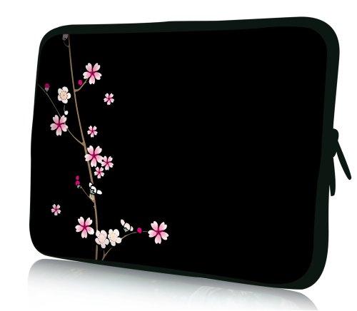 wortek Universal Notebooktasche Sleeve aus Neopren für Laptop bis ca. 10,2 Zoll - Schwarz Pink Blumen Ranke
