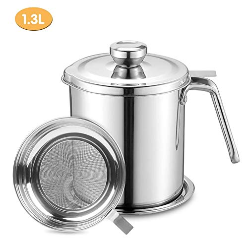 Bacon Grease Container 1.3L Oil Strainer Pot Grease Can Stainless Steel Oil Storage Can with Fine Mesh Strainer Grease Keeper for Kitchen Fat Storage