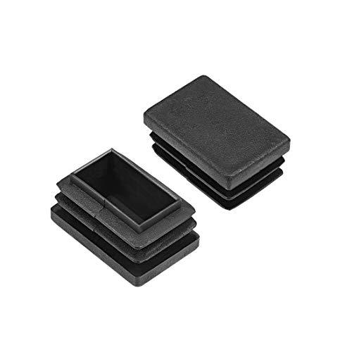 sourcing map Tapas De Plástico rectangulares de extremo plástico para pata de muebles, silla, mesa 30mm x 20mm 12 Piezas