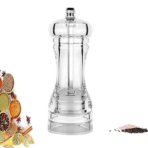 Dream HorseX Pfeffermühle Manuelle Gewürzmühle mit Mahlwerk aus Keramik Transparent Acrylmühle Manuellen Behälter, Edelstahl Salzmühle Sicherheit und Umweltschutz (13.7cm)…