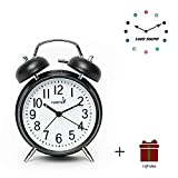 FLOITTUY {Loud Alarm for Deep Sleepers} 4'' Twin Bell Alarm Clock with Backlight for Bedroom and Home Decoration(Black)