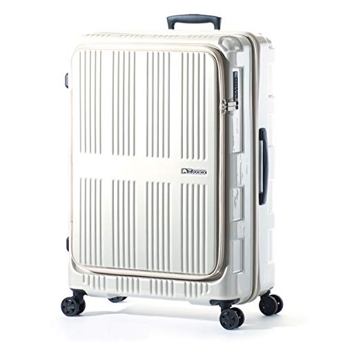 アジアラゲージ マックスボックス スーツケース フロントオープン 拡張 90L/102L 受託手荷物規定内 軽量 大容量 Lサイズ MAXBOX ALI-5711 (パールホワイト)